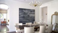 décoration salle à manger table chandelier