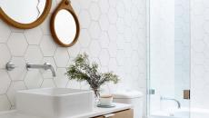 carrelage forme géométrique salle de bains moderne