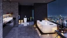 appartement ville salle de bain panorama nuit