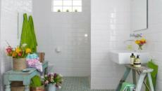 Salle de bain décorée avec des plantes et fleurs