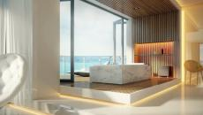 minimaliste spacieuse salle de bain résidence côtière
