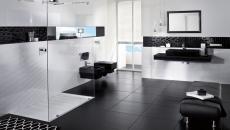 salle de bain luxe design contemporain noir et blanc