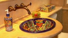 retro chic décoration mosaïque lavabo ameublement salle de bain