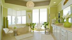 Vert citron pour une salle de bains luxe