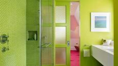 déco vert peps pour salle de douche enfants