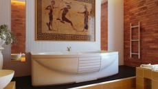 mosaïque grecque salle de bain antique