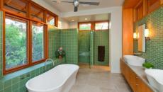 salle de bains en vert