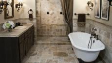 salle de bains design retro d'antant ambiance baignoire
