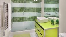 Déco design vert anis vert olive salle de bains