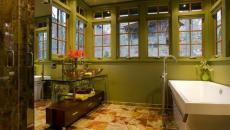 design déco en vert salle de bains campagne