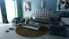 séjour bleu décoration design maison éclectique