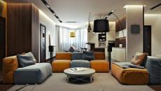 grande pièce de vie décor moderne coloré