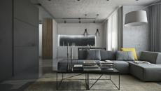 Intérieur Design Maison En Gris. Aspect Rustre Industriel Appartement Déco  Gris