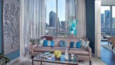 appartement de luxe déco en bleu séjour salon avec vue