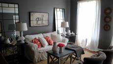 séjour aux murs peints gris