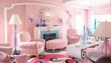 agencement de couleurs rose et bleu séjour
