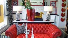 canapé cuir moderne rouge