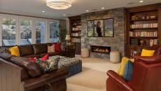 design rustique salon télé moderne cheminée