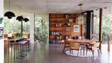 séjour béton meubles rétro maison moderne