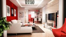 séjour moderne déco blanc rouge