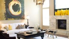 séjour contemporain décoration intérieur jaune