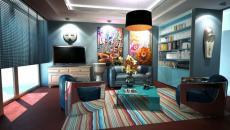 séjour turquoise design déco intérieur éclectique