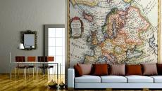 revêtement mur papier peint carte géo design