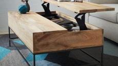 table basse design banc d'école en bois