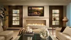 télé fixée au-dessus de la cheminée séjour design