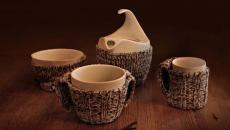 vaisselle de thé design au revêtement tricoté