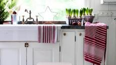 cuisine en blanc et rouge idées déco Noël