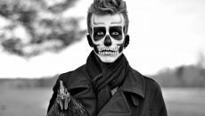 squelette maquillage noir et blanc homme halloween