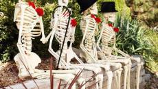 squelettes déco Halloween jardin maison