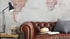 décoration intérieur appartement séjour carte géographique
