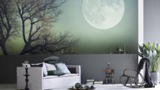 stickers muraux nuit pleine lune séjour déco