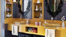 noir et jaune salle de bain luxe