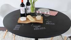 table à manger tableau noir craie