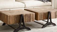 table basse design bois massif effet retro
