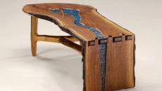table en bois authentique et verre