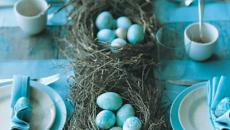 déco de table pour Pâques en turquoise