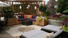belle terrasse maison avec tapis outdoor
