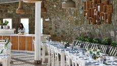 repas plein air hôtel boutique luxueux mykonos