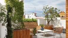 terrasse sur le toit immeuble palmiers déco idées