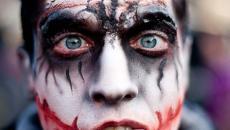 zombie maquillage ensanglanté prof homme Halloween