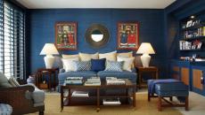 murs en bleu salon design intérieur traditionnel