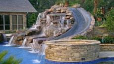 piscine jacuzzi toboggan outoor jardin