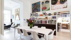 salle à manger éclectique avec chaises tulipe