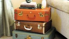 valises retro effet déco éclectique table de nuit