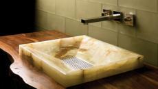marbre vasque lavabo ameublement salle de bain design
