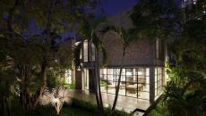 belle maison rénovée d'architecte vue de nuit